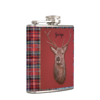Fine Art red Deer Stag, Tartan Vinyl Wrapped Flask