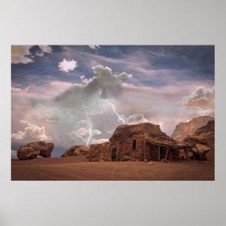 Fine Art Southwest Desert Lightning Landscape Poster