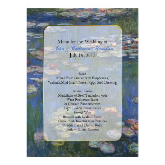 Fine Art Water Lilies Wedding Table Menu Personalized Announcements