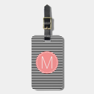 Fine Black Stripe with Coral Monogram Luggage Tags