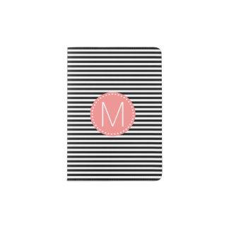 Fine Black Stripe with Coral Monogram Passport Holder