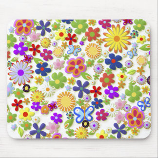 Fine Cool Flowers Cute Girly Retro Floral Mouse Pad