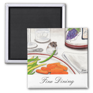 Fine Dining Hamster Art Wine by BiHrle Square Magnet