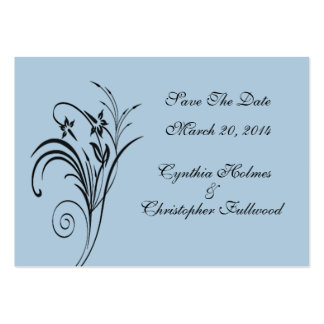 Fine Floral Black Save The Date Business Card Template