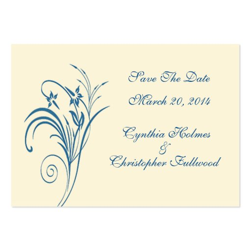 Fine Floral Budding Blue Save The Date Cards Business Card Template