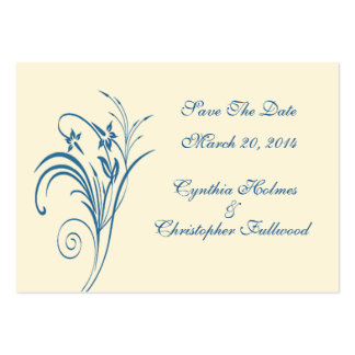 Fine Floral Budding Blue Save The Date Cards Pack Of Chubby Business Cards