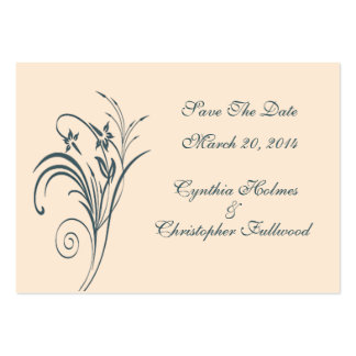 Fine Floral Graceful Green Save The Date Cards Business Card