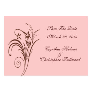 Fine Floral Rustic Brown Save The Date Cards Large Business Cards (Pack Of 100)