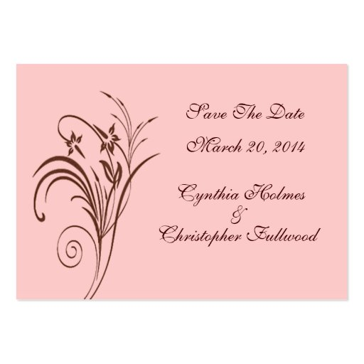 Fine Floral Rustic Brown Save The Date Cards Business Cards