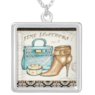 Fine Leather Bag and Shoe Square Pendant Necklace