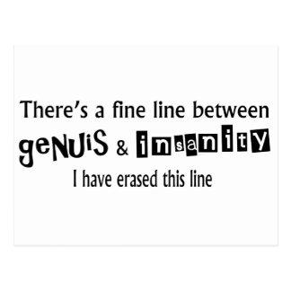 Fine Line Between Genius & Insanity Postcard