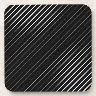 Fine White Lines On Black Coaster
