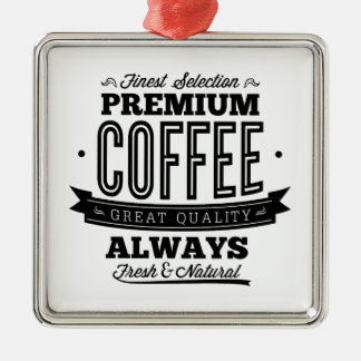 Finest Selection Premium Coffee Silver-Colored Square Decoration
