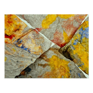 Finger paint on corners of four paper towels postcards