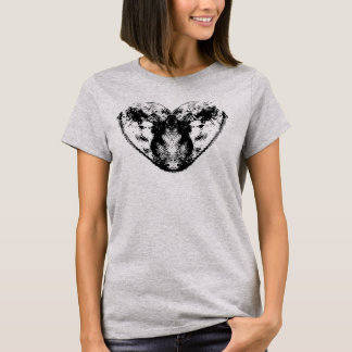 Finger print Heart Shirt Black and White