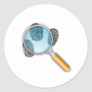 Finger Prints Under a Magnifying Glass Classic Round Sticker