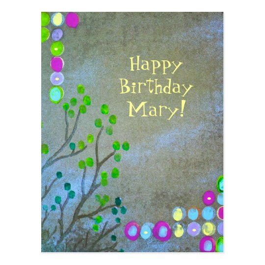 Fingerprint Abstract Happy Bday! Postcard