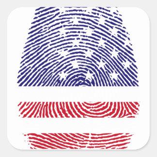 Fingerprint American USA National Flag Independenc Square Sticker