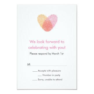 "Fingerprint Heart Response Card 3.5"" X 5"" Invitation Card"
