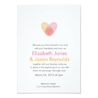 Fingerprint Heart Wedding Invitation