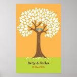 Fingerprint / Signature Tree Wedding (Orange) Poster