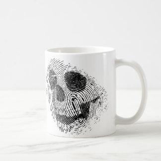 Fingerprint skull classic white coffee mug