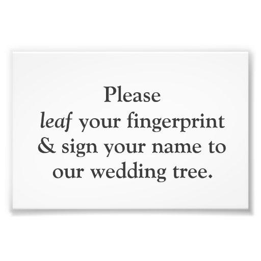Fingerprint Tree Instruction Card Photograph
