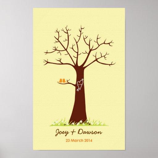 Fingerprint Tree Wedding Guestbook (Cream) Posters