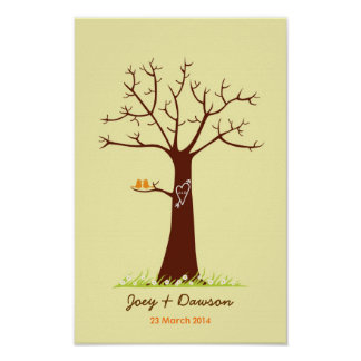 Fingerprint Tree Wedding Guestbook Cream Posters