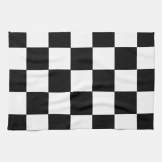 finish race car flag black white squares chess tea towel