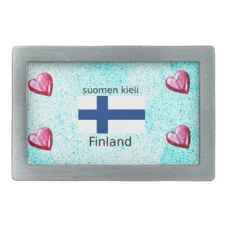 Finland Flag And Finnish Language Design Belt Buckles