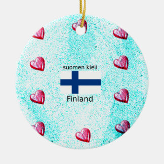 Finland Flag And Finnish Language Design Ceramic Ornament
