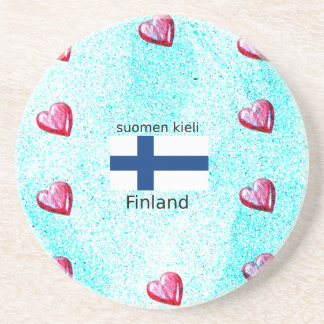 Finland Flag And Finnish Language Design Coaster