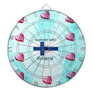 Finland Flag And Finnish Language Design Dartboard