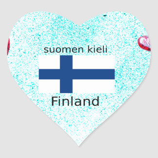 Finland Flag And Finnish Language Design Heart Sticker