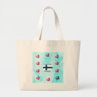 Finland Flag And Finnish Language Design Large Tote Bag