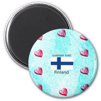 Finland Flag And Finnish Language Design Magnet