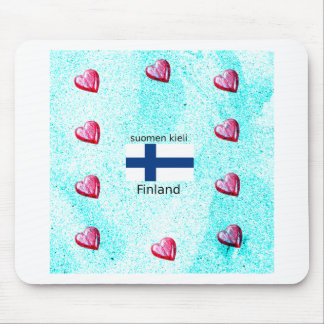 Finland Flag And Finnish Language Design Mouse Pad