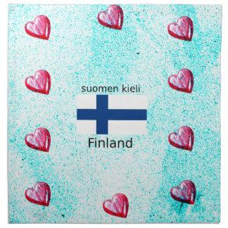 Finland Flag And Finnish Language Design Napkin