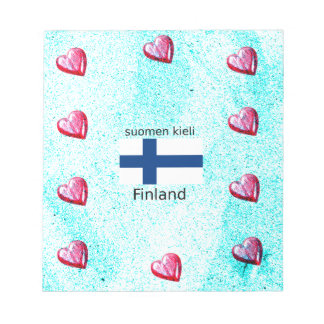 Finland Flag And Finnish Language Design Notepad