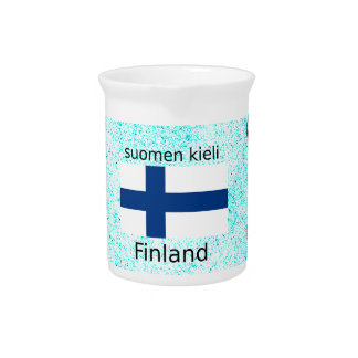 Finland Flag And Finnish Language Design Pitcher