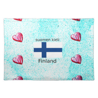 Finland Flag And Finnish Language Design Placemat