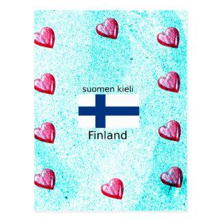 Finland Flag And Finnish Language Design Postcard