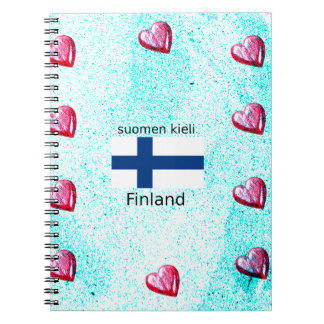 Finland Flag And Finnish Language Design Spiral Notebook