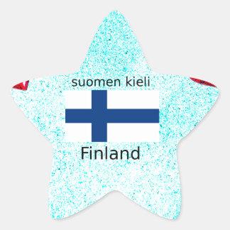 Finland Flag And Finnish Language Design Star Sticker