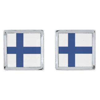 Finland Flag Cufflinks Silver Finish Cufflinks
