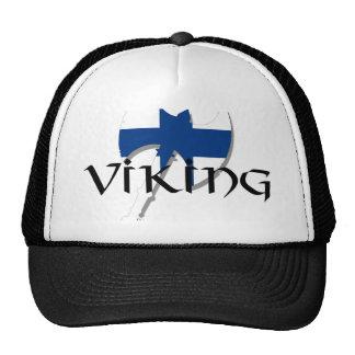 Finland flag Finnish Suomi Viking Axe Mesh Hats