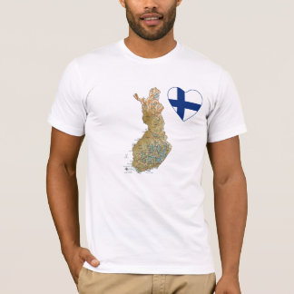 Finland Flag Heart and Map T-Shirt