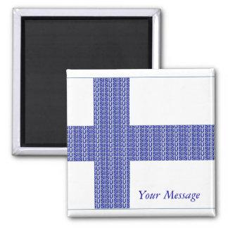 """Finland Flag Nordic Blue on White """"Sisu""""  Magnet"""