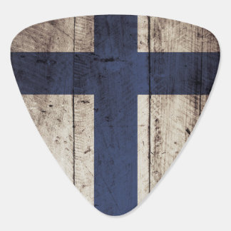 Finland Flag on Old Wood Grain Plectrum